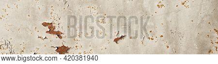 Light Distressed Rusty Metal Texture Banner. Orange Corrosion Decay Grungy Alluminium Backdrop. Brok