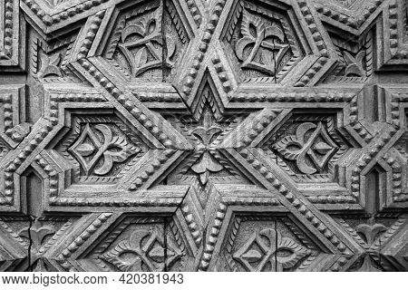 Wood Carving Ornament Pattern Background. Decorative Wooden Star Decor Craft Panel. Geometric Carved