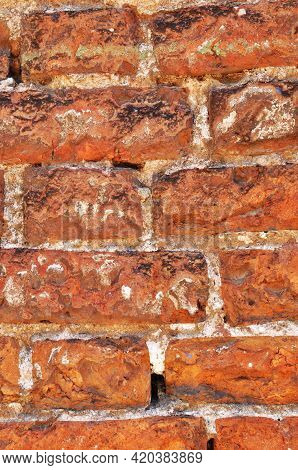 Fragment Of Brickwork. Masonry Of The Old Wall With Jointing. Background, Texture, Design.