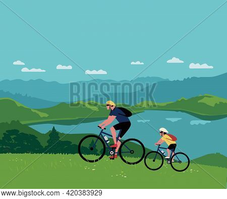 Dad, Son Ride Bicycles In Mountain Valley Vector. Father, Kid Child Sport Adventure Cute Cartoon. Fa