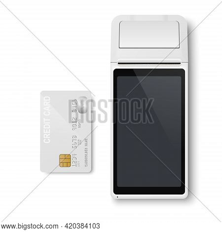 Vector Realistic White 3d Payment Machine. Pos Terminal, Credit Card Closeup Isolated. Approved Paym