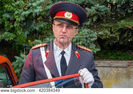Dnipro, Ukraine - October 05, 2013: Man In Retro Uniform Of Soviet Police Officer With The Rank Of S