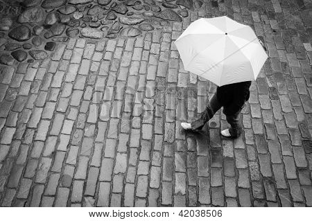 Woman With Umbrella In Rain
