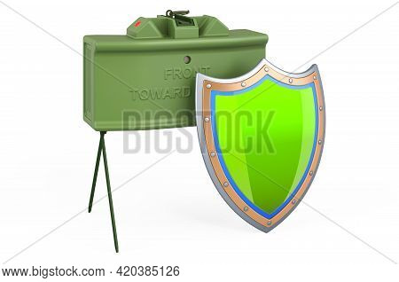 Anti-personnel Mine With Shield, 3d Rendering Isolated On White Background