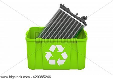 Recycling Trashcan With Car Radiator, 3d Rendering Isolated On White Background