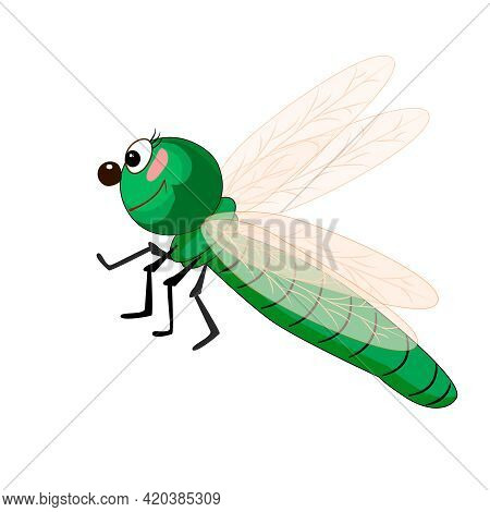 Dragonfly Isolated On White Background. Cartoon Funny Green Dragonfly. Dragon Fly With Big Eyes And