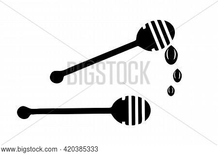 Honey Dipper Silhouette Isolated On White Background. Honey Spa Therapy Icon. Wooden Dipper With Dro