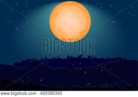 Nighttime Background With Orange Moon, Starry Sky, Hill And Grass. Landscape With Full Moon And Gras