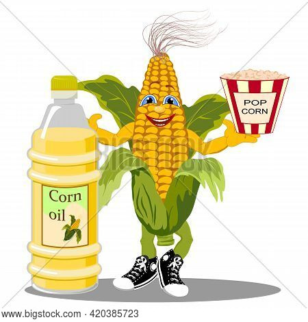 Vector Illustration With Cheerful Corn.cheerful Corn, Corn Oil And Popcorn In A Color Illustration O