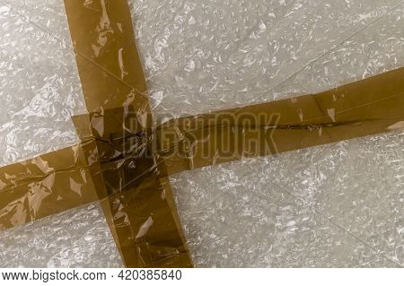 Adhesive Tape On A Bubble Wrap