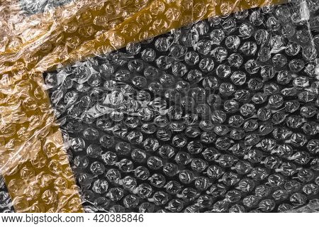 Bubble Wrap With Golden Adhesive Tape