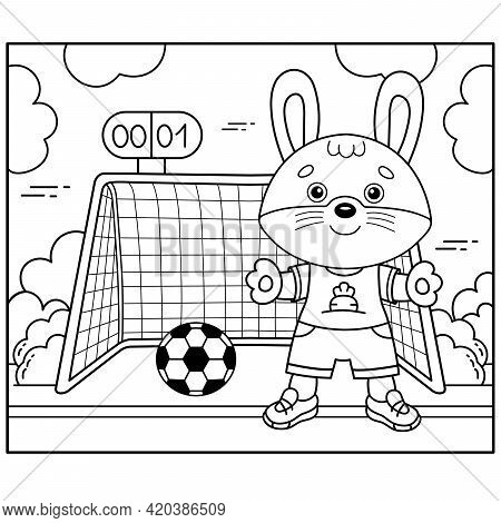 Coloring Page Outline Of Cartoon Bunny Or Hare Playing  Soccer. Football Game. Coloring Book For Kid