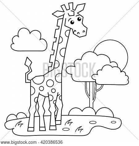 Coloring Page Outline Of Cartoon Giraffe In The Savanna. Animals. Zoo. Coloring Book For Kids.
