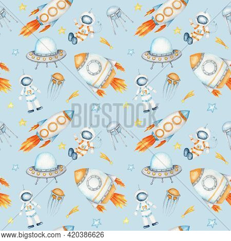 Space Seamless Pattern With Astronaut, Cosmonaut, Space Rocket, Flying Saucer Ufo, Spaceship, Alien,