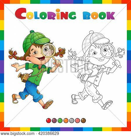 Coloring Page Outline Of Cartoon Girl Detective With Loupe. Coloring Book For Kids.