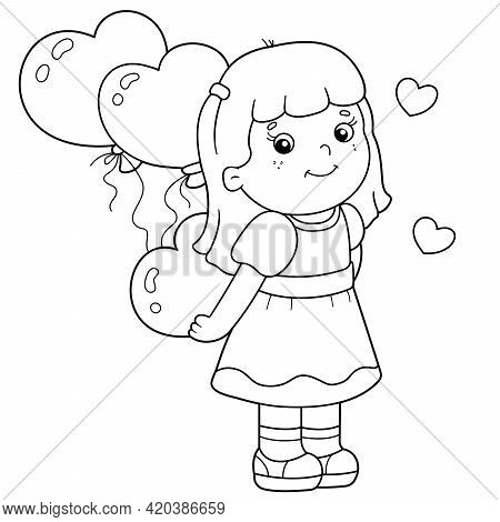 Coloring Page Outline Of Cartoon Girl With Heart And Balloons. Valentine's Day. Coloring Book For Ki