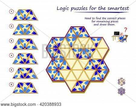 Logic Puzzle Game For Children And Adults. Need To Find The Correct Places For Remaining Pieces And