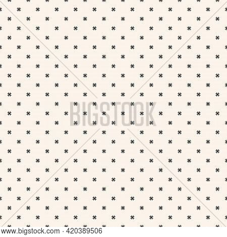 Subtle Vector Geometric Floral Pattern. Minimal Seamless Texture. Abstract Ornament With Small Flowe