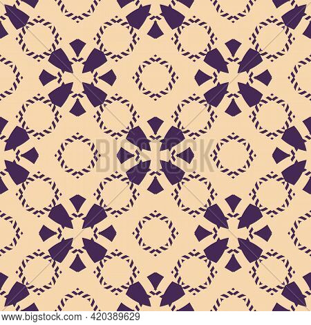 Vector Geometric Floral Seamless Pattern. Simple Ornament With Flower Silhouettes, Diamond Shapes. A