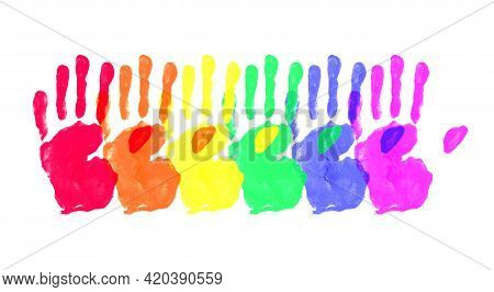 Watercolor Hand Painted Colorful Rainbow Set. Pride Flag Isolated
