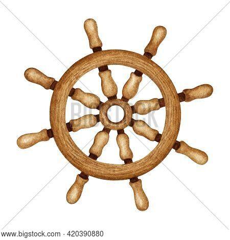 Watercolor Ship Wooden Steering Wheel. Nautical Vessel Part, Vintage  Navigation Equipment. Maritime