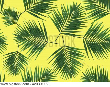 Green Leaves Seamless Pattern. Green Leaves Of A Palm Tree On A Yellow Background. Seamless Natural