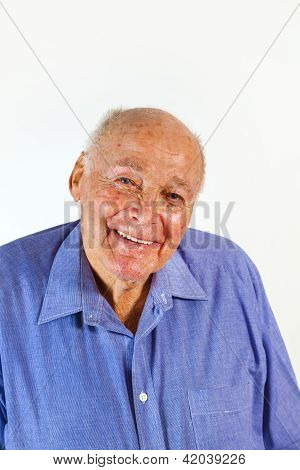 portrait of laughing happy elderly man in front of a white background poster