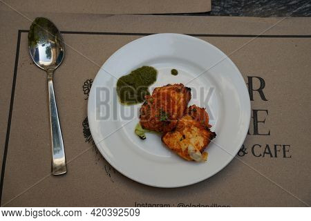Paneer Tikka Kabab In Red Sauce - Is An Indian Dish Made From Chunks Of Cottage Cheese Marinated In