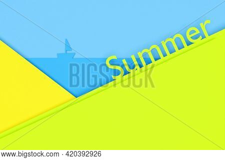 3d Illustration Of A Bright Summer Background With Yellow Stripes And A Blue Background Similar To T