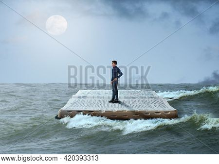 Man Sailing On The Holy Bible, In Rough Seas, Seeking Salvation By Faith In Jesus Christ, Son Of God