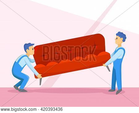 Delivery Service Workers Relocating Sofa Illustration. Cartoon Characters In Uniform Carrying Couch,
