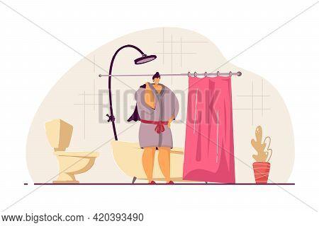 Woman Taking Shower Or Bath In Morning. Bathroom, Washing Up, Bathrobe Flat Vector Illustration. Hyg
