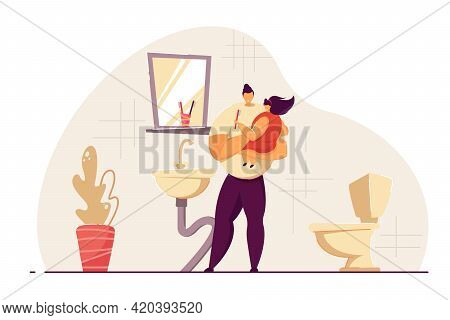 Father And Daughter Washing Up In Morning In Bathroom. Man Holding Girl In Hands, Brushing Teeth Tog