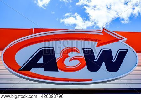 Ottawa, Ontario, Canada - May 9, 2021: The A&w Logo Sign On A Location Of The Fast-food Restaurant C