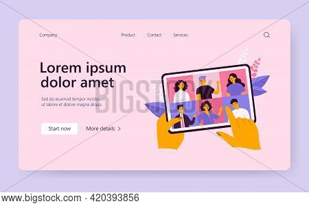 Female Hand Holding Tablet With Group Video Call Isolated Flat Vector Illustration. Cartoon Digital