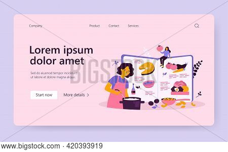 Healthy Meals Recipe Book Vector Illustration. Female Chef Cooking From Fresh Ingredients For Restau
