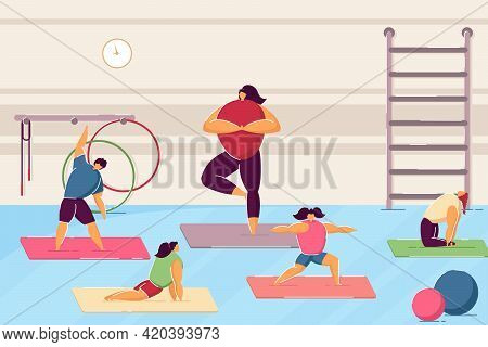 Cartoon Children Doing Yoga In Gym. Flat Vector Illustration. Kids Exercising With Instructor In Yog