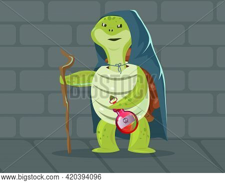 Evil Turtle Dressed As Witch Illustration. Cartoon Tortoise Wearing Cape, Holding Wooden Stick And B