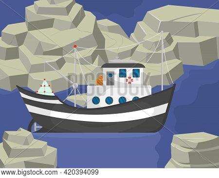 Fishing Boat Sailing Between Rocks Cartoon Illustration. Commercial Trawler At Sea, Marine Landscape