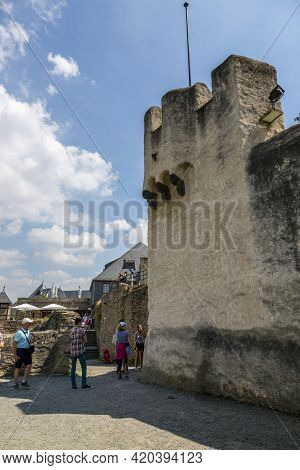 Koblenz, Germany - July 07, 2018: People In Front Of The Fortress Wall Of The Castle Marksburg In Ge