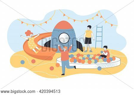 Day Care Center For Children. Cartoon People Playing In Game Zone Flat Vector Illustration. Indoor A