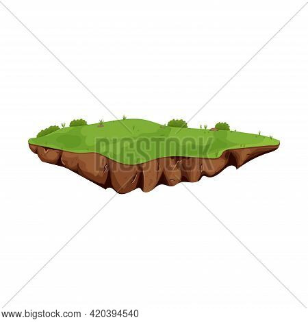 Flying Island With Ground And Grass Isolated On White Background, Detailed In Cartoon Style. Ui Game