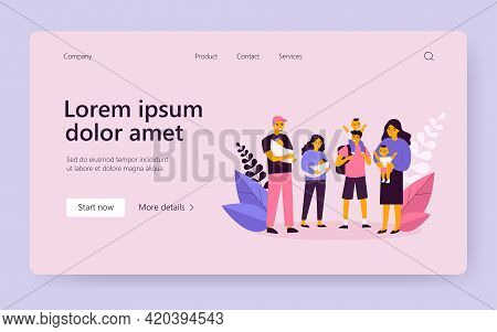 Front View Of Happy People With Infants Standing Together. Baby, Parent, Newborn Flat Vector Illustr