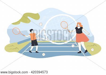 Mother And Son Playing Tennis Outside On Court. Cartoon Characters Hitting Balls With Rackets Vibran