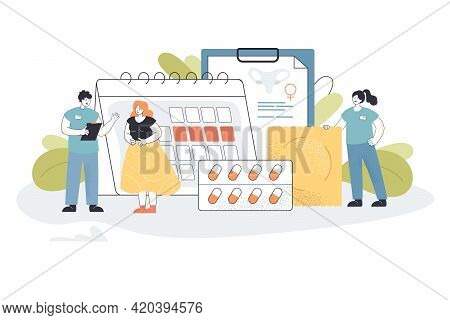 Young Woman Consulting Gynecologist. Tiny People With Contraceptives Creative Flat Vector Illustrati