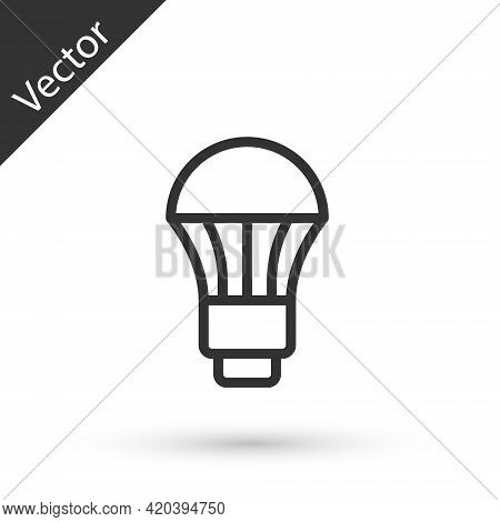 Grey Line Led Light Bulb Icon Isolated On White Background. Economical Led Illuminated Lightbulb. Sa