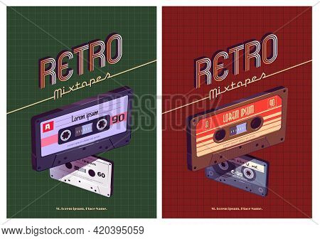 Retro Mixtapes Cartoon Poster With Audio Mix Tapes. Cassettes, Media Or Music Store Ad In Vintage St
