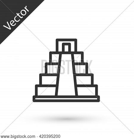 Grey Line Chichen Itza In Mayan Icon Isolated On White Background. Ancient Mayan Pyramid. Famous Mon