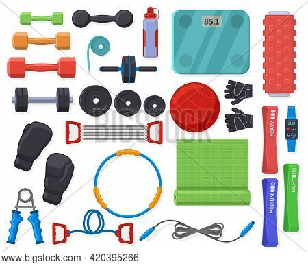 Home Fitness Equipment. Sport Training Accessories For Home Or Gym Exercise, Gymnastic And Fitness V