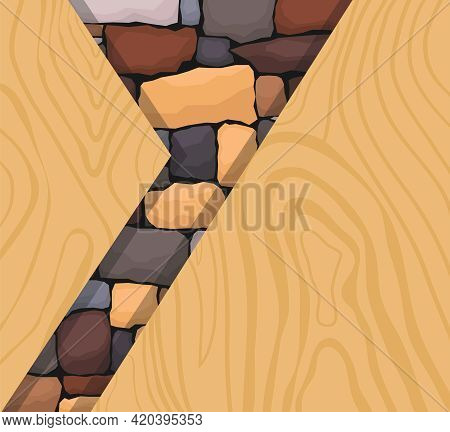 Background Image Of A Stone Cutout On A Wooden Background. Stone With Wood. Vector Illustration. Vec